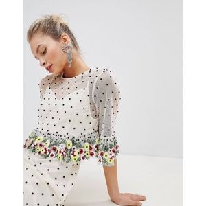 Asos design sequin floral midi dress Sz 14 U.K18